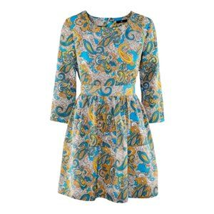 H&M Paisley Long Sleeve Exposed Zipper Mini Dress